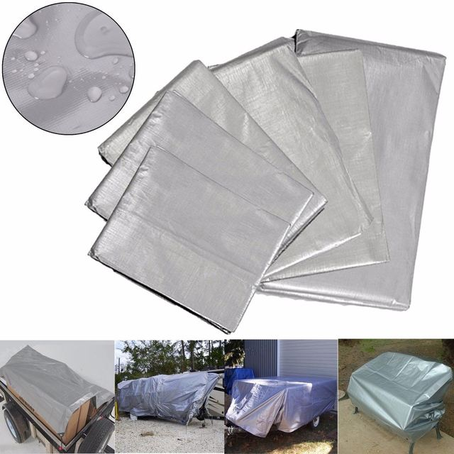 Heavy Duty Silver 210gsm Waterproof Tarpaulin Camping Car Boat Roof Patio  Cover