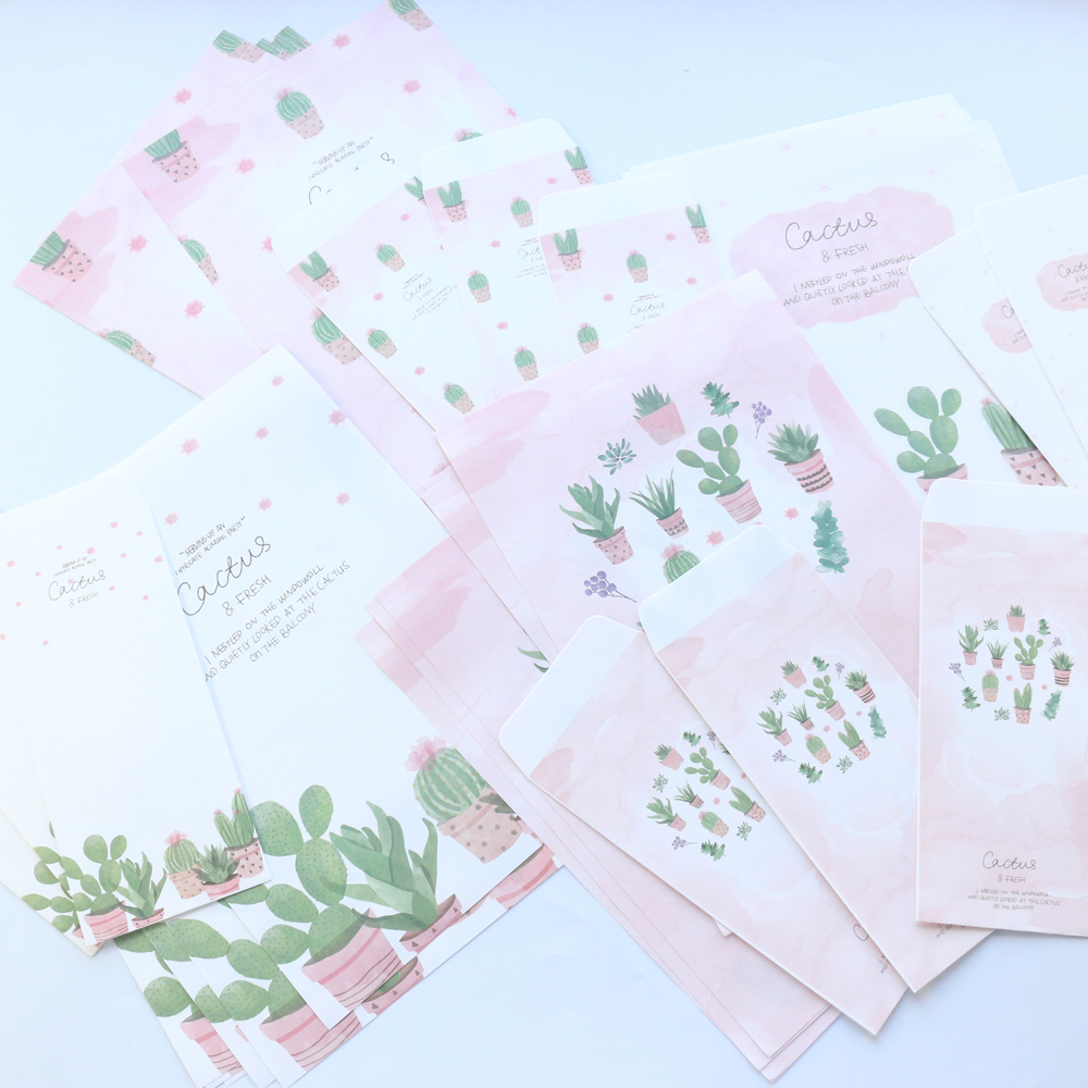 Domikee New Cute Cartoon Cactus Pattern School Student Envelope And Letter Pad Set Stationery,4 Letter Papers+3 Envelope,A4