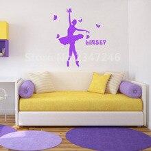 Персонализированные Обувь для девочек имя Книги по искусству настенной надписи балерина Танцы с бабочками винил Наклейки для декора комнаты