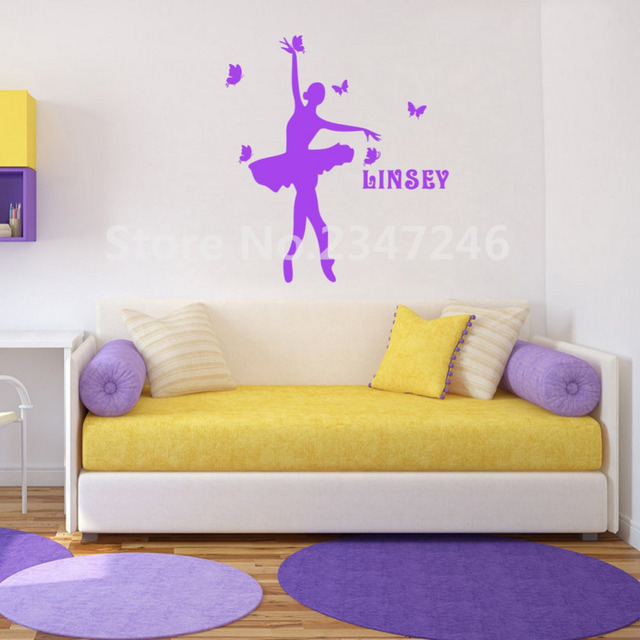 Personalized Girls Name Art Mural Wall Decals Ballerina Dancing with ...
