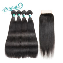Ali Grace Hair Brazilian Straight Human Hair With Lace Closure 100% Remy Human Hair 4 Bundles With 4*4 Free Part Lace Closure(China)