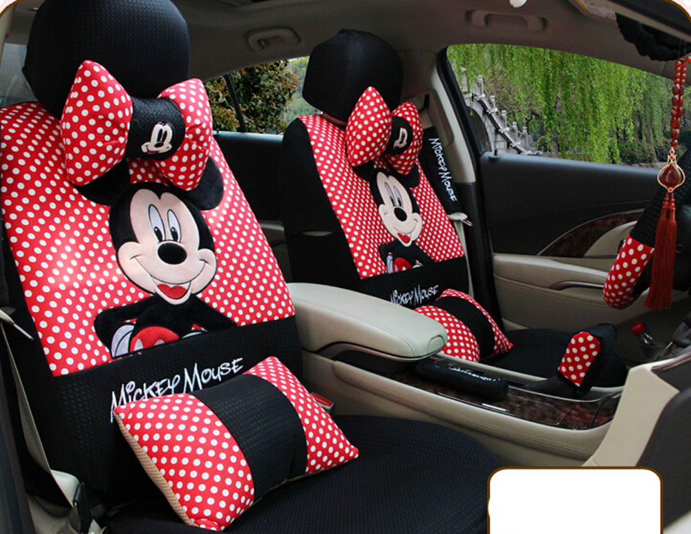 20ps 2016 red and black universal four season cartoon mickey mouse car seat cover seat covers. Black Bedroom Furniture Sets. Home Design Ideas