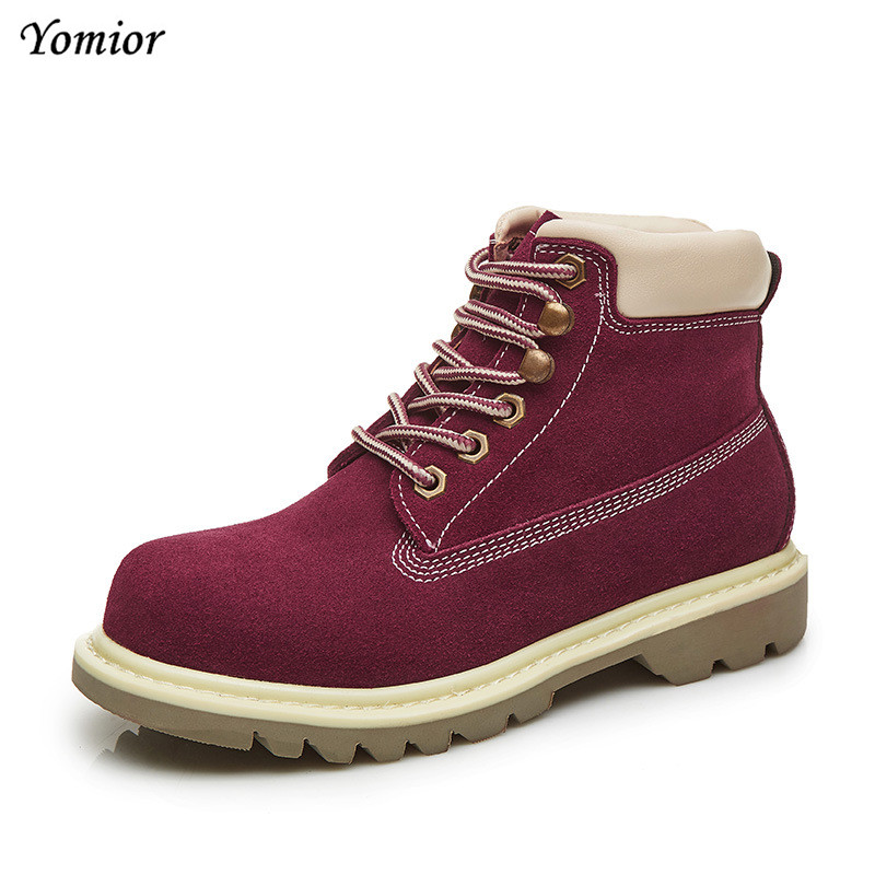 Yomior Unisex Big Size 35-44 Genuine Leather Women Martins Boots Fashion Girls Casual Motorcycle Boots Ankle Boots Shoes women led light shoes casual shoes led luminous boots unisex genuine leather ankle boots women usb charging martin boots 35 46