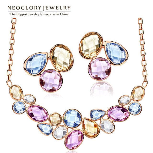 Neoglory Light Yellow Gold Color Colorful Crystals Fashion Beads Bridal Jewelry Sets Necklaces Earrings 2017 for Women Fashion