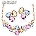 Neoglory chapado en oro perlas de cristales de colores de moda nupcial sistemas de la joyería grande collar collares pendientes 2017 de las mujeres de moda