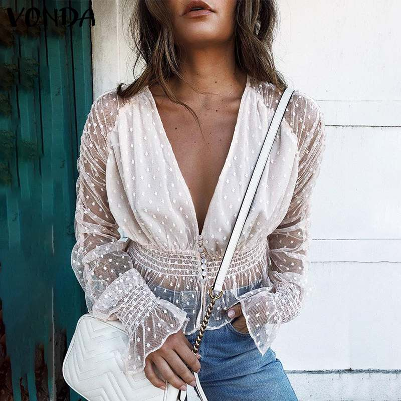VONDA Women Lace Blouse Backless Mesh Shirt 2020 Casual Long Sleeve Patchwork Hollow Tops Chic Blouse Sexy Tops Blusas Plus Size
