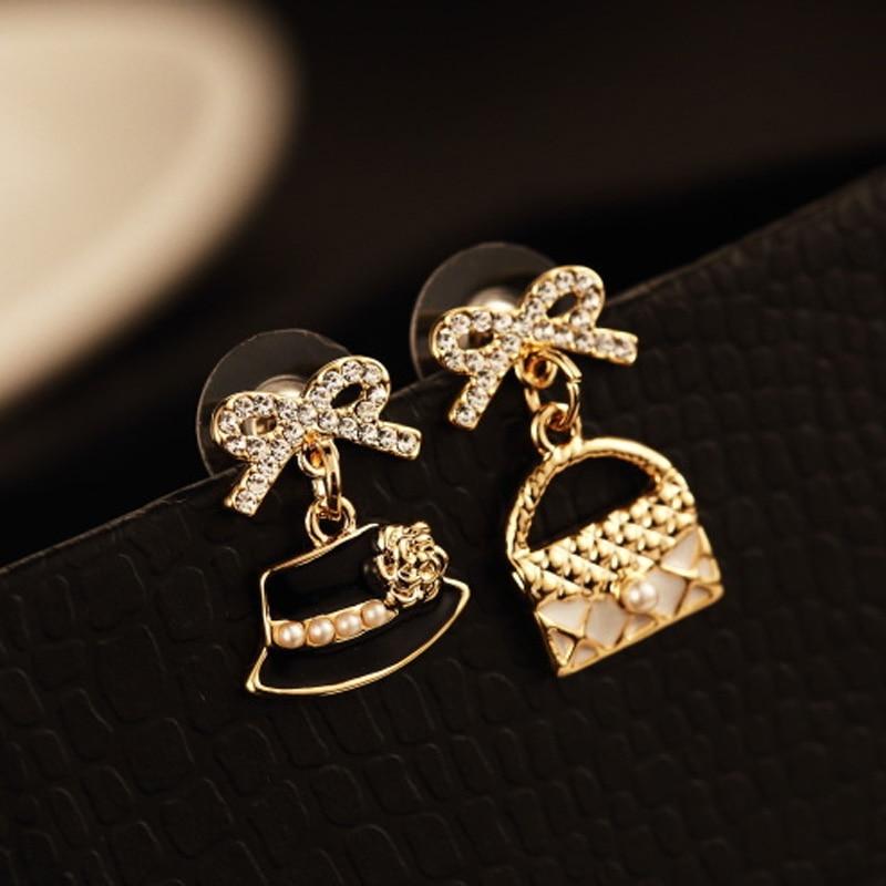 Luxury Brand Design Women Double Wear Pearl Anti-Allergy Earring Female Party Earring Fine Hat Earrings Jewelry