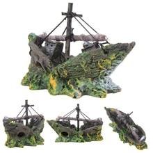 Decoración de acuario de resina para el hogar, barco hundido, adorno de Acuario, barco de vela, destructor, pecera, decoración de acuario