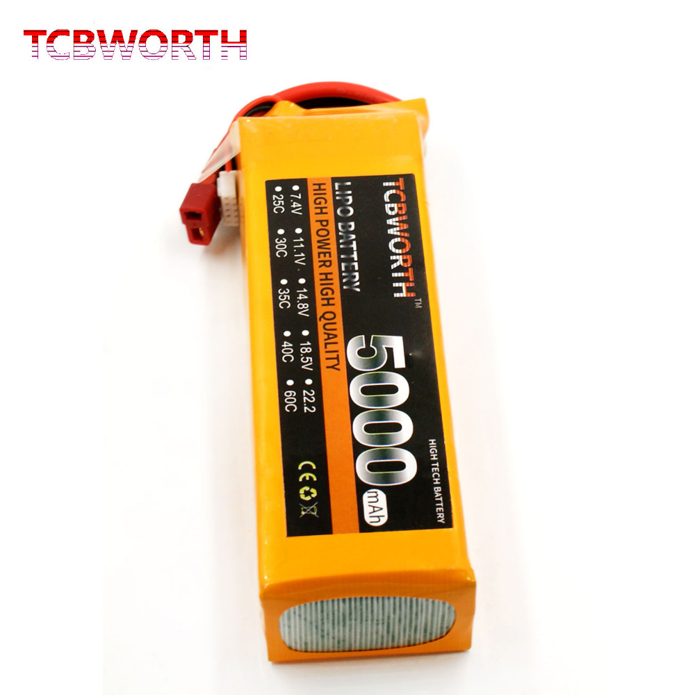 TCBWORTH 4S RC Helicopter LiPo battery 14.8V 5000mAh 35C For RC Quadrotor Airplane AKKU Drone Car Truck Li-ion battery tcbworth 2s 7 4v 5000mah 25c rc lipo battery for rc airplane quadrotor