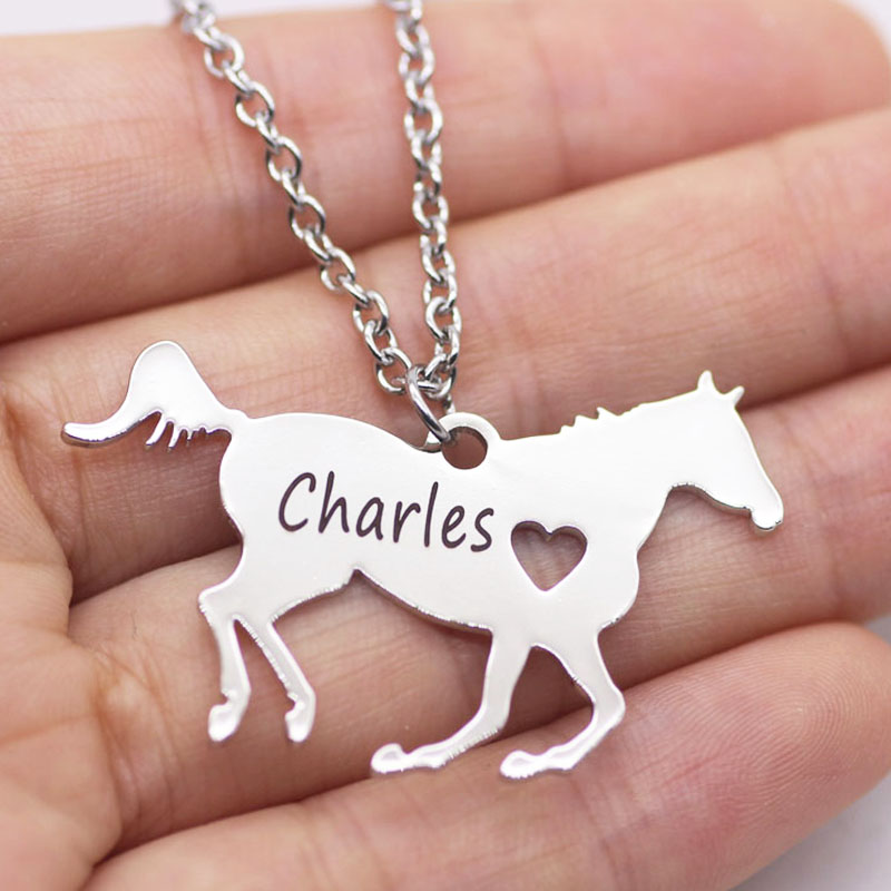Personalized Horse Lover Gift Horse Jewelry Racing Horse Necklace <font><b>Aliexpress</b></font> Top-selling Accept Drop Shipping YP6029 image