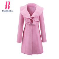 Plain Single Button Ruched Winter Coat Turn Down Collar Casual Warm Coat Work Office Women Pink