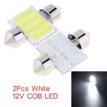 Juego de 2 uds. Conducda de luces LED de bóveda de coche, de 12 SMD CoB, para el Interior del coche, Kit de luz de repuesto para la matrícula de la bóveda del coche, color blanco