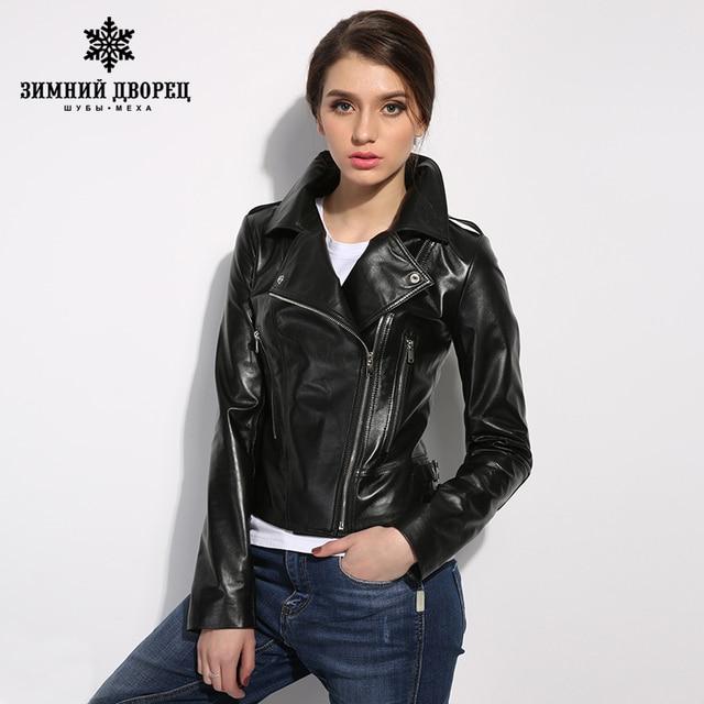 ЗИМНИЙ ДВОРЕЦ Моды кожа куртка женщин классический Короткие женские кожаные куртки локомотив стиль женщин овчины пальто