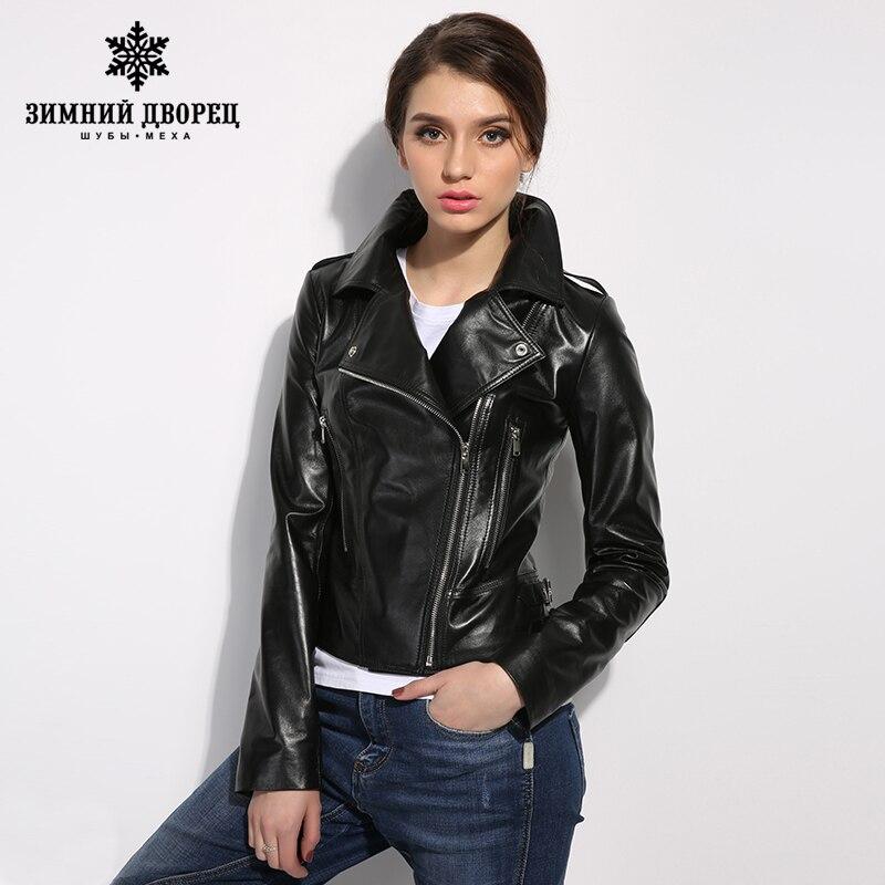 2018 Spring Fashion leather jacket women classic Black ...