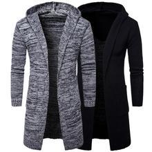 Men's Wool Sweater Knit Long Cardigan Hooded Wizard Knitwear Men's Outerwear