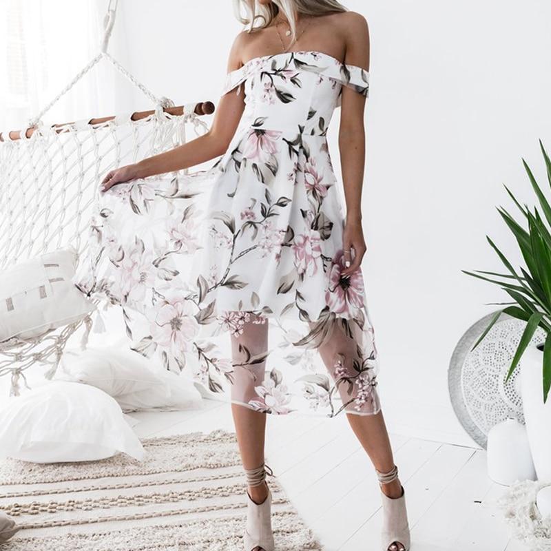 Mode Frauen Sommer Strand Kleider Blumendruck Off Schulter Elegantes Kleid Vestido WS5272R