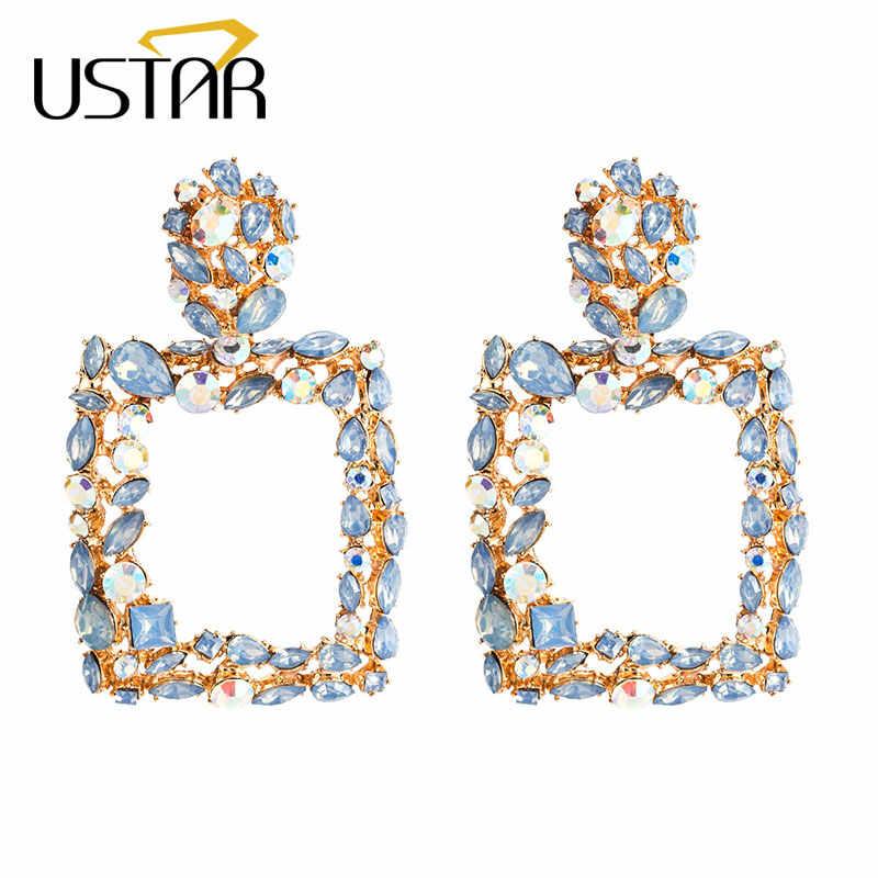 USTAR Shiny Crystals Statement Earrings for Women Geometric Square Dangle Drop Earrings female Fashion Jewelry hanging Oorbellen