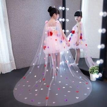 Princess Girls Evening Dress 2018 New Floral Ball Gown Dresses Long Trailing Teen Baby Girl Flower Clothing Banquet Dress JF650