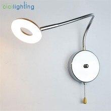 Промышленный прикроватный светильник для чтения с гусиной шеей 5 Вт, Настенный/подключаемый к изголовью светодиодный светильник для художественной галереи с цепным переключателем