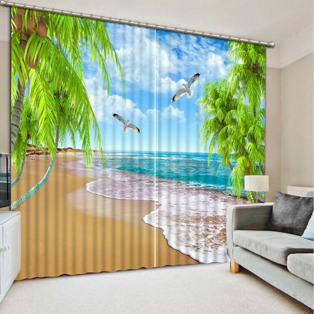 Cool Beach Wave 3D Curtains For Living Room Bedroom Window Modern Curtains  Hotel Drapes