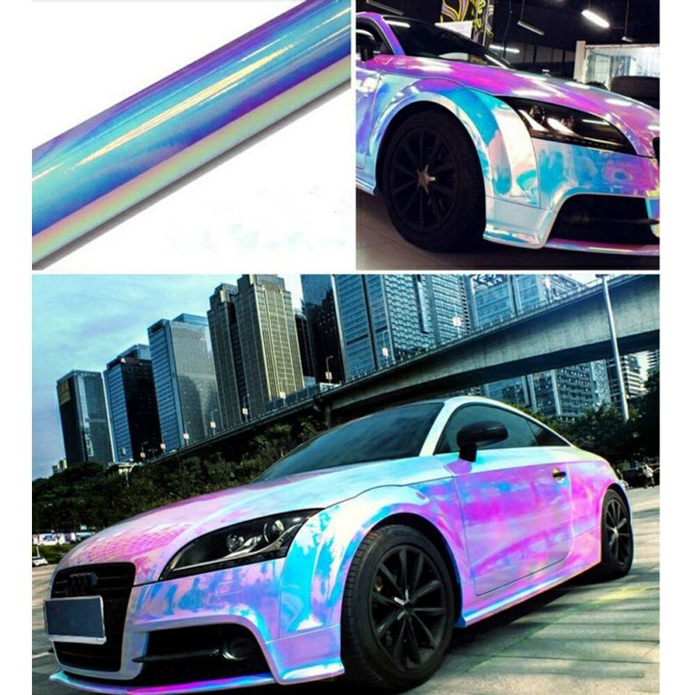Blanc holographique arc-en-ciel Neo Chrome housse de voiture en vinyle sans bulle autocollant Film 54