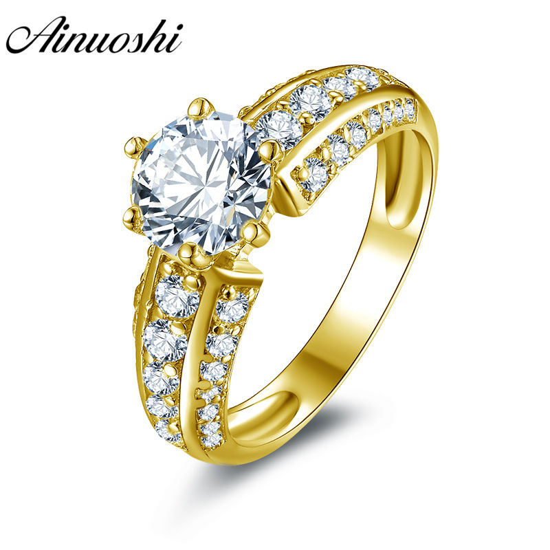 AINUOSHI Trendy 6 Claws Round Ring 14K Solid White/Yellow Gold Pave Setting Band Round Cut SONA Diamond Wedding Engagement Ring