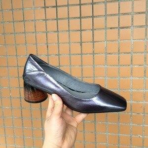 Image 5 - ALLBITEFO באיכות גבוהה מלא אמיתי עור נשים נעלי עקבים כיכר טו אביב אופנה סקסי נשים גבוהה עקב נעליים גבוהה עקבים