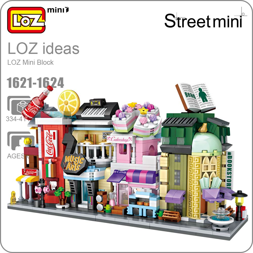 LOZ Mini Bricks Architecture Mini Street Model Store Shop Building Assembly Toy City Square Block Set House Kids Gift 1621-1624 loz lincoln memorial mini block world famous architecture series building blocks classic toys model gift museum model mr froger