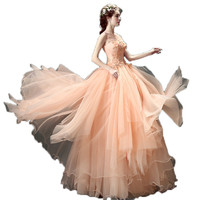 Pink Flower Bride Toast Dress For Dinner Will Perform Princess Wedding Dress New Winter 2415