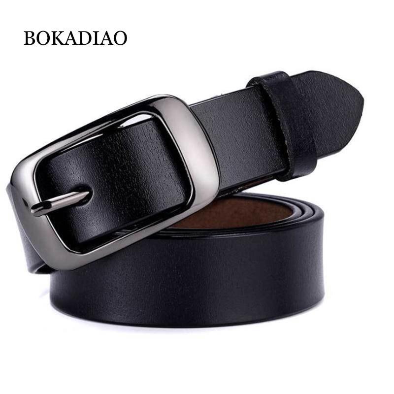 BOKADIAO Hot Women's Genuine Leather Belt Punk Luxury Brand Designer Belts For Women High Quality Casual Female Jeans Belt Black