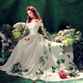 Белый слэш воротник бальное платье средневековый платье эпохи возрождения платье принцессы потому викторианской / мария-антуанетта