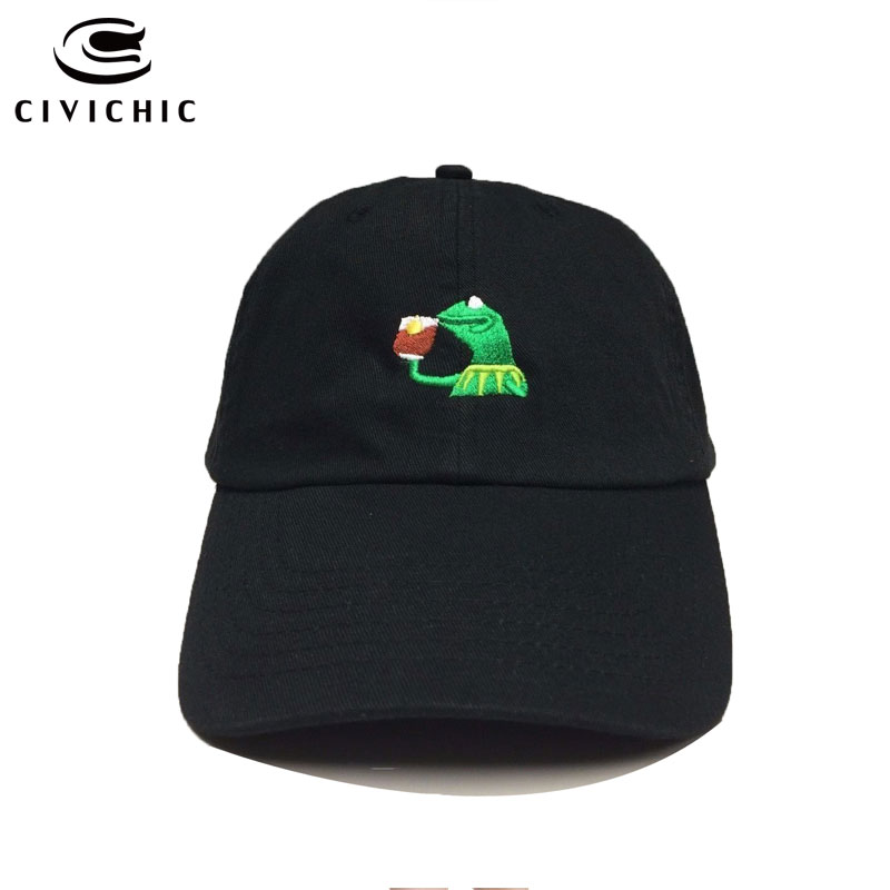 CIVICHIC Unisex Kermit Frog Sipping Tea Baseball Cap Žádná z firem Strapback Dad Hat Finals Champion King Headwear HT101