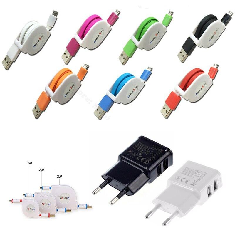5V/2A <font><b>Phone</b></font> <font><b>Charger</b></font> Adapter 1M/2M/3M USB Retractable Micro USB Cable For Xiaomi Redmi Note 4/Pro/Mi/Max/4x/4a Huawei P8/P9 Lite