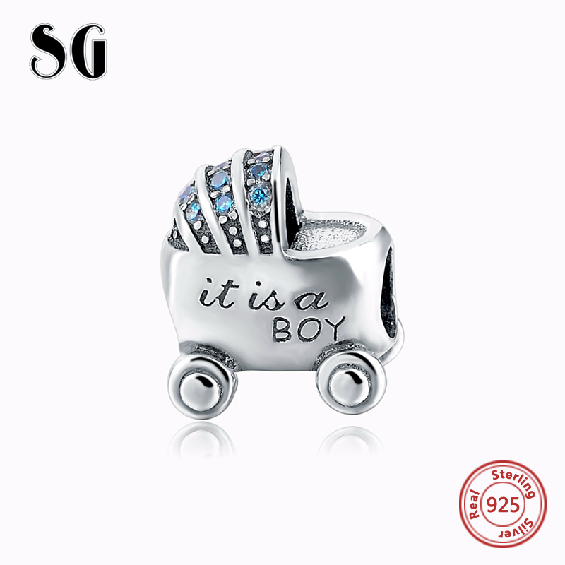 Beads Boy Baby Carriage Troll Charms Silver 925 Fit Authentic European Bracelet Berloques Jewelry For Carlo Biagi zable Bracelet Gift Without Return