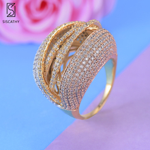21*27 mm Delicate Dubai Rings for women Engagement Ring Statement Cubic Zirconia Circle Party bagues pour femme