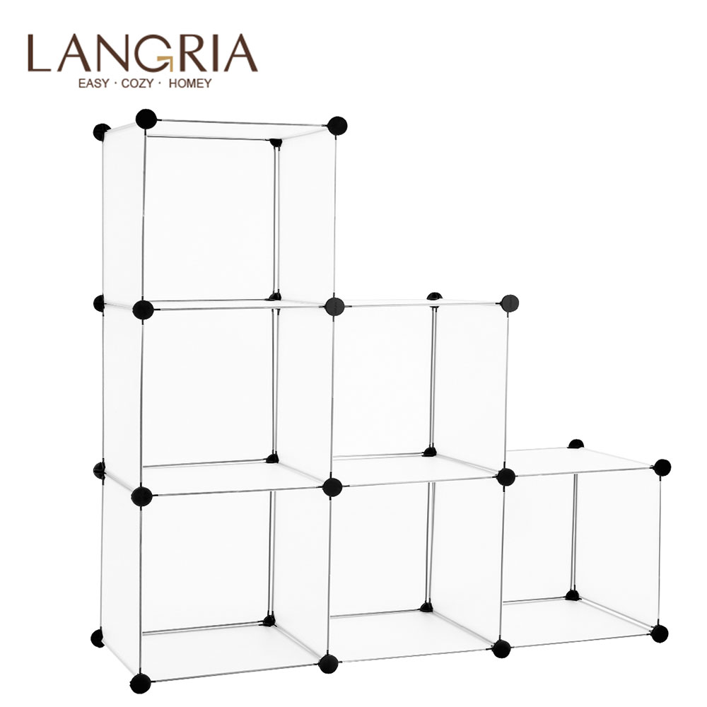 LANGRIA 6-Cube Interlocking Modular Open Storage Organizer Shelving System Closet Wardrobe Rack For Home Clothes Shoes Toys