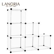 Langria 6/16 cubo bloqueio modular aberto organizador de armazenamento sistema prateleiras armário guarda roupa rack para casa sapatos brinquedos