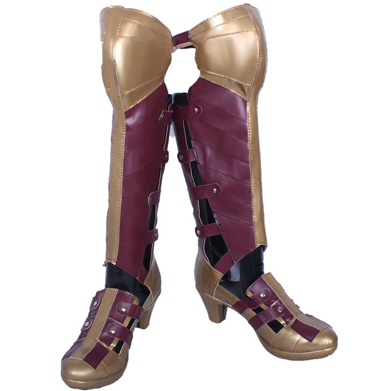 Batman vs Superman Wonder Woman Diana Prince Cosplay Shoes High Quality Zipper Back Artificial Leather High-heeled Boots