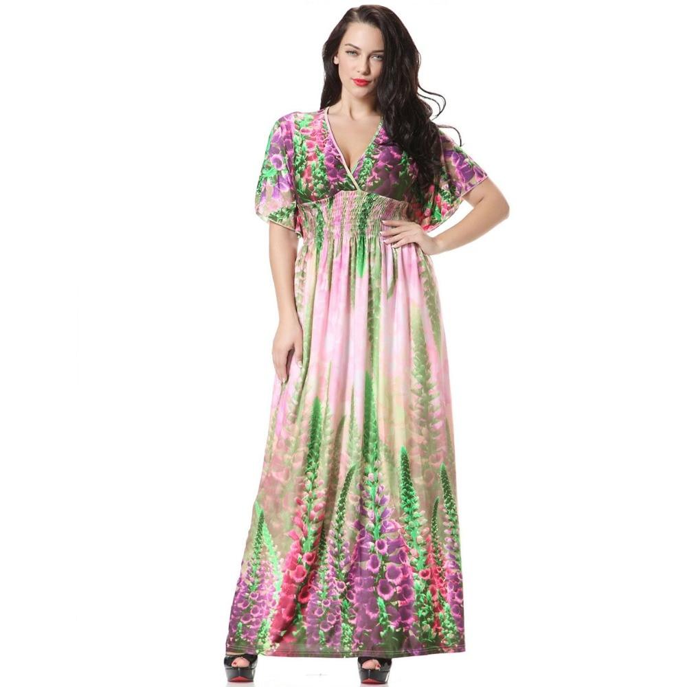 New Arrivals 2017 Women Dresses Boho Chic Lavender Floral Print Batwing Sleeve Long Party Dress Bohemian Ice Silk Beach Dress