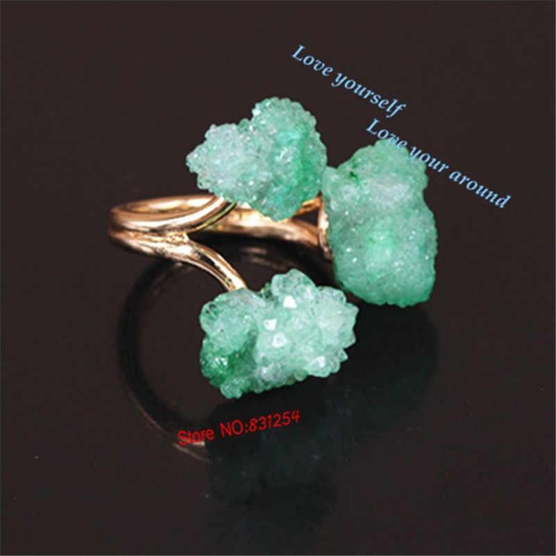 Hot 1 stück Mode-stil Frauen Ring Drusy Unregelmäßige Form Geode Kristall Aussage Stein Ring Natur Stein Fingerring für Party