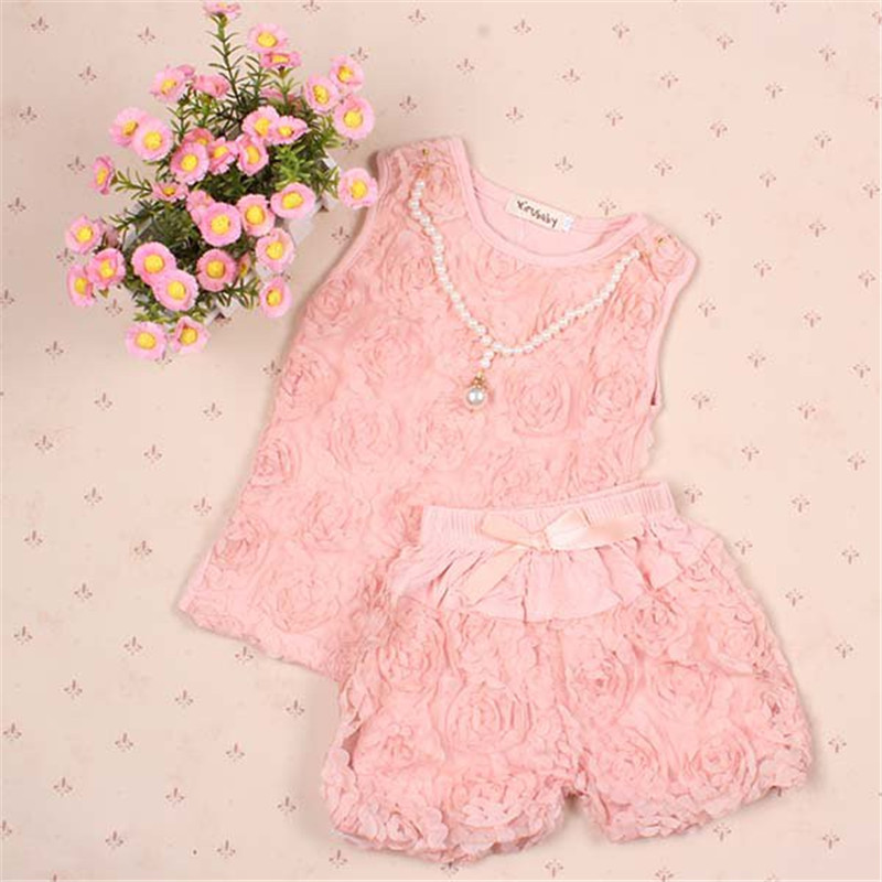Pink Kid Girls Lace Flower Pearl Necklace Shirt Vest Tops + Bowknot Short Pants Set Clothes 2PCS Outfit flower sleeveless vest t shirt tops vest shorts pants outfit girl clothes set 2pcs baby children girls kids clothing bow knot