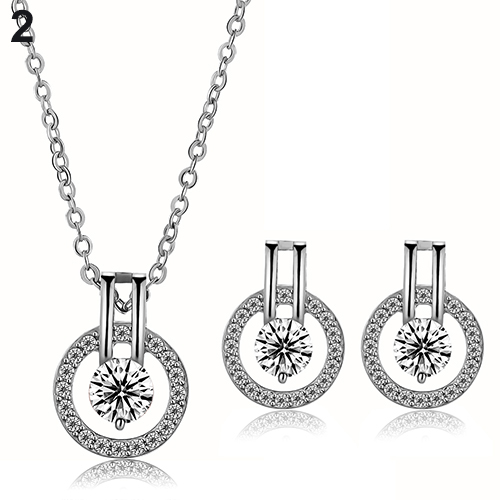 New Arrival Women's Zircon Round Pendent Choker Chain Necklace Earrings Wedding Jewelry Set Fashion Leader' Choice 14