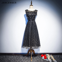 JANCEMBER 2019 Latest Light Luxury Cocktail Dresses Illusion O Neck Sleeve Zipper Back Sequins Beaded dress cocktail party New