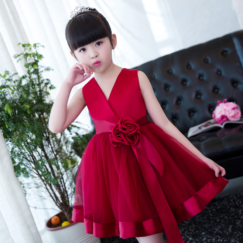 High quality children dress princess dress wine red birthday dress girl dance catwalk group costumes new girl latin dance dress children latin dance clothes children practice uniforms costumes girls adult costumes