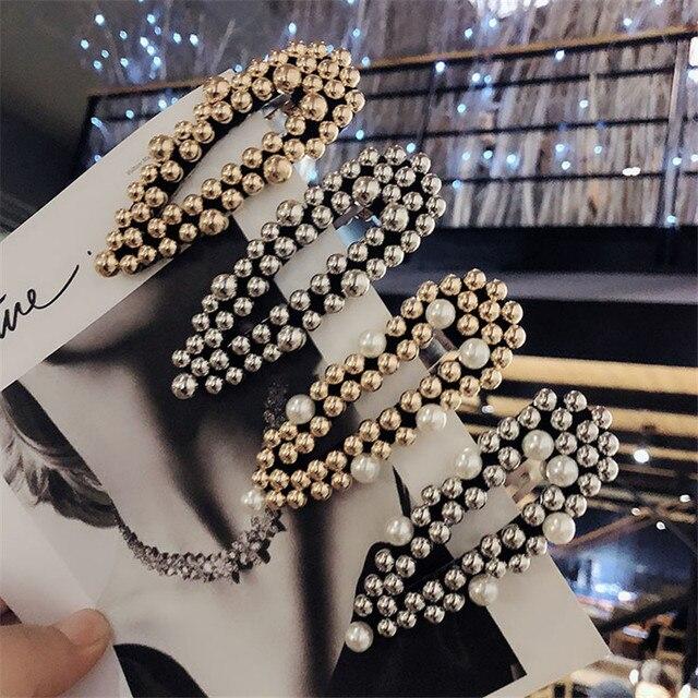 Корейский Имитация Жемчуга Заколка для волос для женщин Мода Полный Клипсы из бисера шпильки подарок девочек аксессуары для волос ручной работы
