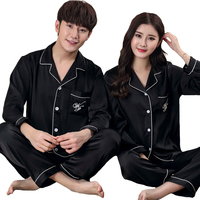 Silky Satin 2PCS Nightwear New Lovers Pajamas Set Casual Sleepwear Couple Long Sleeve Shirt+Pants Home Wear Plus Size 3XL