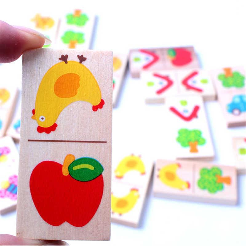 28Pcsเด็กของเล่นไม้ผลไม้สัตว์รับรู้บล็อกโดมิโนจิ๊กซอว์Montessoriเด็กEarly Learning & การศึกษาปริศนาของเล่น