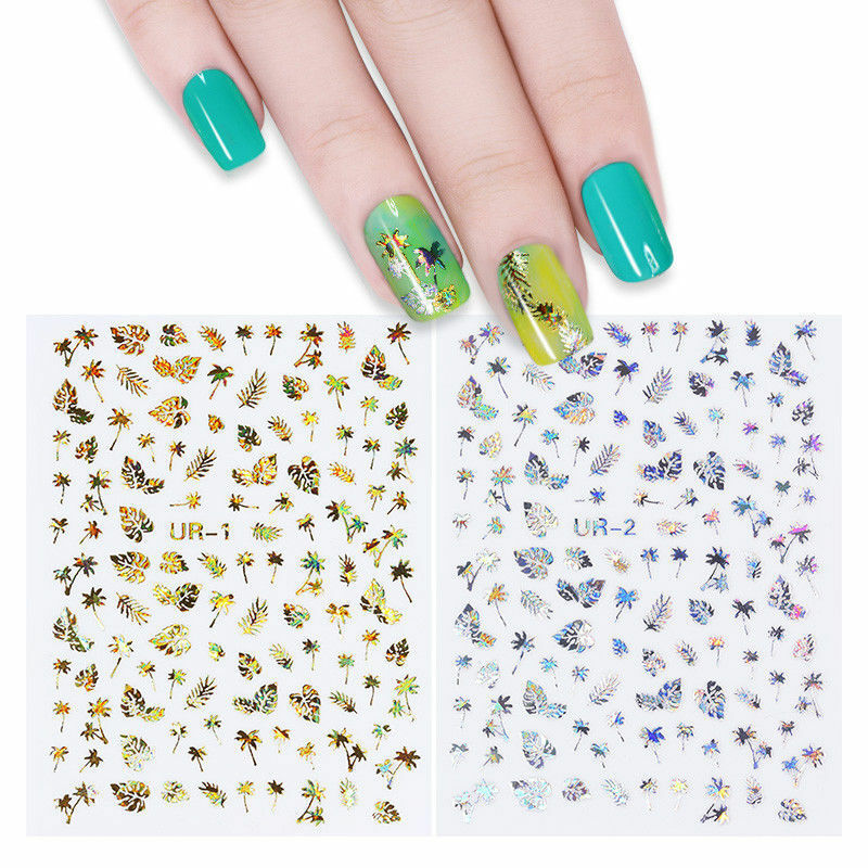 Image 2 - New 1 Sheet Holographic Gold 3D Nail Sticker Coconut Tree Leaf Holo Laser Adhesive Decal Sticker Manicure Nail Art Decoration-in Stickers & Decals from Beauty & Health