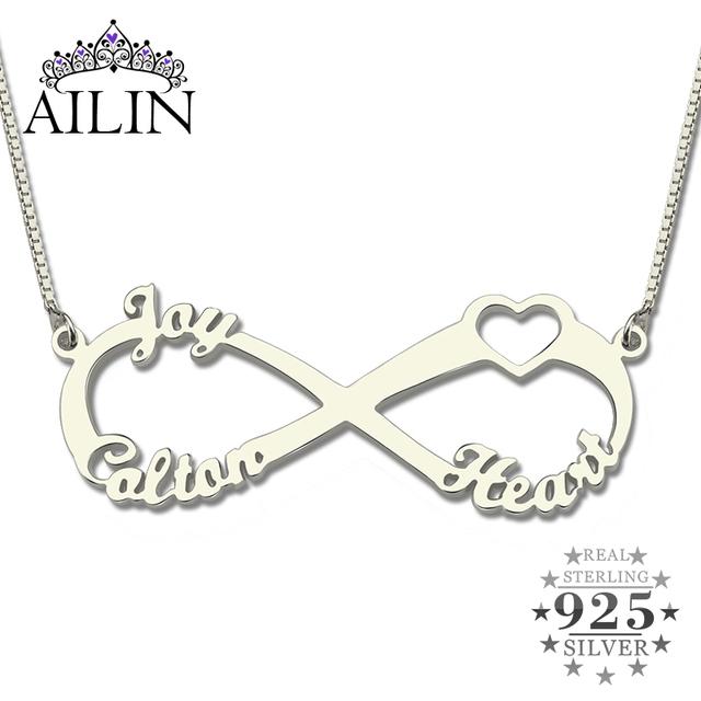 3 Nombres de Plata Corazón Infinito Infinito Collar Placa de Identificación Personalizada Regalo de Navidad de La Familia para la Mamá