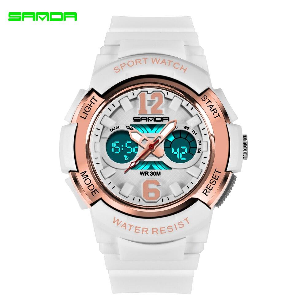 2020 SANDA marque électronique Sport Montre femmes montres à Quartz décontracté étanche Montre-bracelet numérique LED Femme horloge Montre Femme 2
